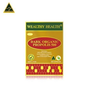 Dark Organic Propolis 500 Wealthy Health – 365 Capsules